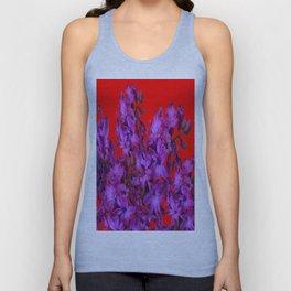 Red Color Design Amethyst Purple Hyacinth Flowers Art Unisex Tank Top