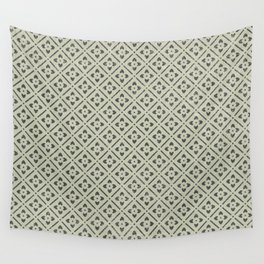 Vintage chic green black geometrical floral pattern Wall Tapestry