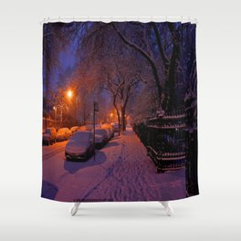Chicago in Snow: White Drapery (Chicago Winter Collection) Shower Curtain