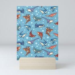 Sharks in the light blue Mini Art Print