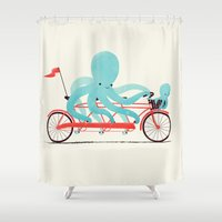 bike Shower Curtains featuring My Red Bike by Jay Fleck