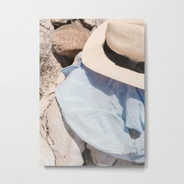 Summer Holiday Vibes In France Photo | Beach Hat Fashion Art Print | Europe Travel Photography Metal Print