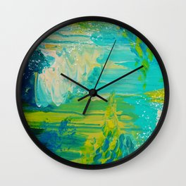 SEASIDE DREAMS - Beautiful Ocean Waves Teal Blue Turquoise Chartreuse Underwater Abstract Painting Wall Clock