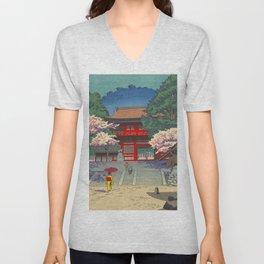 Asano Takeji Spring At Kurama Temple Vintage Japanese Woodblock Print Asian Art Unisex V-Neck