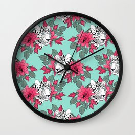Stylish leopard and cactus flower pattern Wall Clock