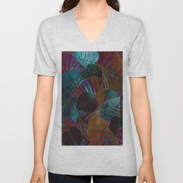 Abstract Leaves Unisex V-Neck