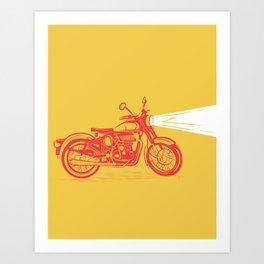 Red & Yellow Royal Enfield Motorcycle Art Print