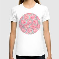 moroccan T-shirts featuring Moroccan Floral Lattice Arrangement in Pinks by micklyn