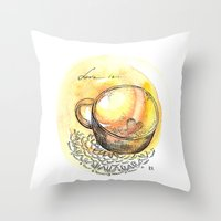 coffe Throw Pillows featuring coffe love by Olga Chekalkina