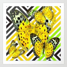 CONTEMPORARY GREY & YELLOW PATTERN BUTTERFLIES Art Print