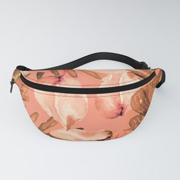 TROPICAL FERNS AND FLOWERS IN SHADES OF coral peach and burnt orange Fanny Pack