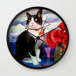 Orazio and the poppies Wall Clock