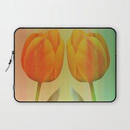 Head-to-Head, mixed media art with elegant Tulips Laptop Sleeve