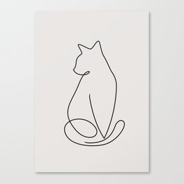 One Line Kitty Canvas Print