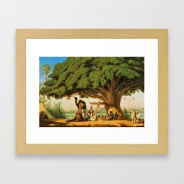 Classical Masterpiece: Travelling artists sketching an Arab Encampment, Cairo by  Émile Vernet-Lecom Framed Art Print