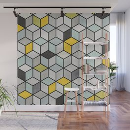 Colorful Concrete Cubes - Yellow, Blue, Grey Wall Mural