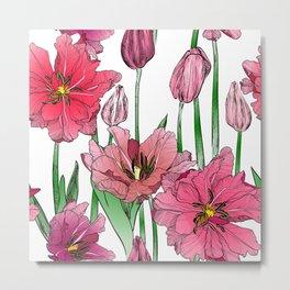 Pink Hibiscus Pattern Metal Print