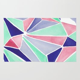 Watercolor colorful mint triangles. Watercolor geometry 3D effect. Rug