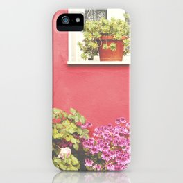 Pink wall and flowers iPhone Case