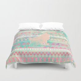 Whimsical Cat, Pink Turquoise Girly Aztec Pattern Duvet Cover