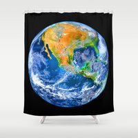 earth Shower Curtains featuring Earth by Marble Trouble