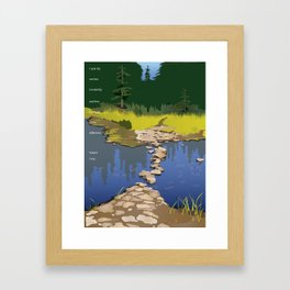 Rock Lake with quote by Robert Frost Framed Art Print