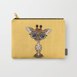 Cute Curious Baby Giraffe Wearing Glasses Carry-All Pouch