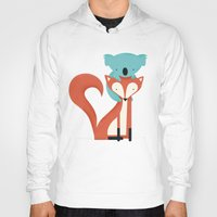 fox Hoodies featuring Fox & Koala by Jay Fleck