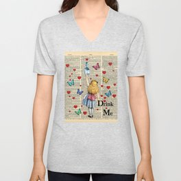 Drink Me - Vintage Dictionary Page - Alice In Wonderland Unisex V-Neck