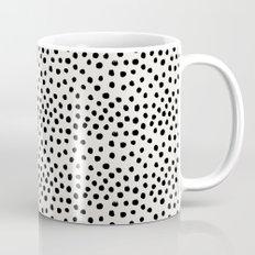 Preppy brushstroke free polka dots black and white spots dots dalmation animal spots design minimal Mug