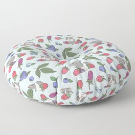 Guinea Pig Pattern in Mint Green Background with mix berries Floor Pillow
