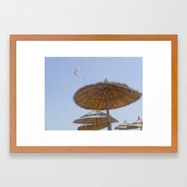 Straw parasols  Framed Art Print