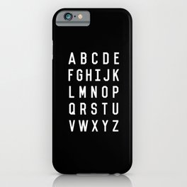 Alphabet Black and White Typography Design Poster with Monochrome Minimalist Letters Wall Decor iPhone Case