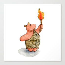 Fire baby! A cute caveman hippo illustration Canvas Print