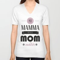 mom V-neck T-shirts featuring Mom by Lilian Lund Jensen