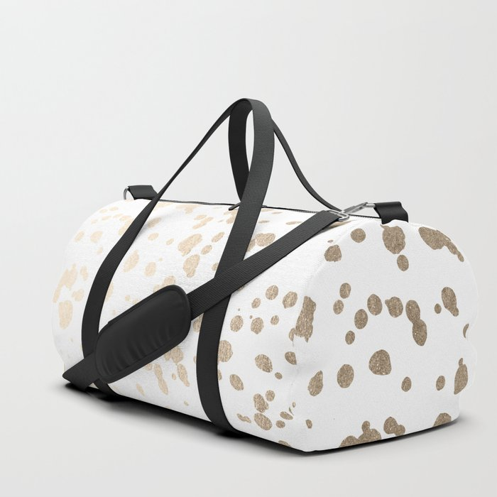 Luxe Gold Painted Dots on White Duffle Bag