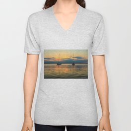 (Sailboats) At Bay Unisex V-Neck