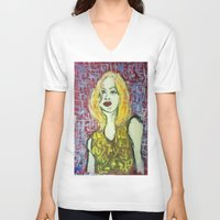 emma stone V-neck T-shirts featuring EMMA by ART OF JAN