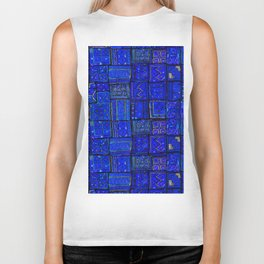 -A2- Lovely Calm Blue Traditional Moroccan Pattern Artwork. Biker Tank