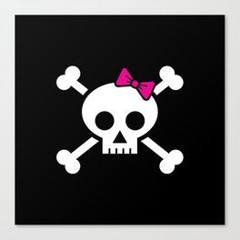 Girl pirate skull and bones with pink ribbon hair bow Canvas Print