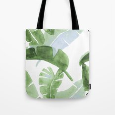 Tropical Leaves Green And Blue Tote Bag