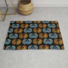Egyptian Scarab Beetle Pattern - Gold  Blue  and red glass Rug