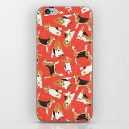 beagle scatter coral red iPhone Skin