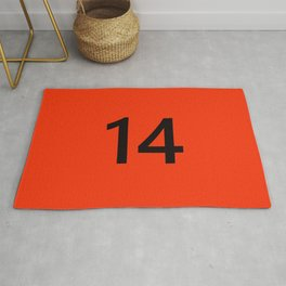 Legendary No. 14 in orange and black Rug