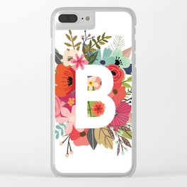 B – Monogrammed Floral Initial Clear iPhone Case