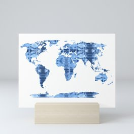 Shibori Map of World 4 Mini Art Print