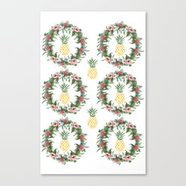 Tropical Flowers Wreath and Watercolor Pineapple Canvas Print