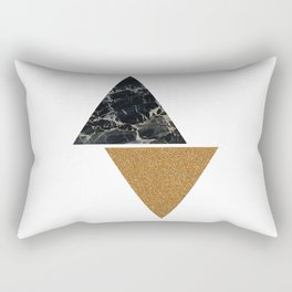 Dark marble and bronze geo Rectangular Pillow