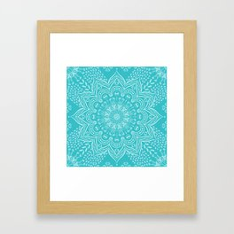 Teal mandala Framed Art Print