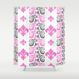 Fluer de Lis Custom Pink Shower Curtain